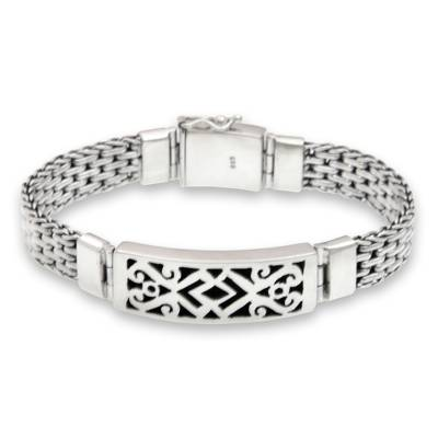 Men's sterling silver pendant bracelet, 'Balinese Warrior' - Men's Handmade Sterling Silver Link Bracelet