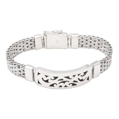 Men's sterling silver pendant bracelet, 'Balinese Hero' - Handmade Men's Sterling Silver Link Bracelet