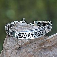Men's sterling silver pendant bracelet,  'New Classic' - Men's Handcrafted Sterling Silver Link Bracelet