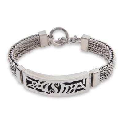 Men's sterling silver pendant bracelet,  'New Classic' - Men's Silver Link Bracelet