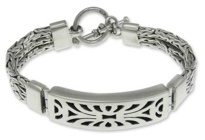 Sterling silver wristband bracelet, 'Spectacular' - Indonesian Sterling Silver Wristband Bracelet