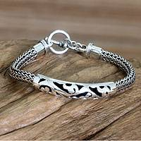 Sterling silver braided bracelet, 'Balinese Finesse'