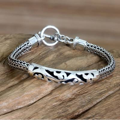 Sterling silver braided bracelet, Balinese Finesse