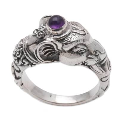 Men's amethyst ring, 'Balinese Elephant' - Men's Sterling Silver and Amethyst Ring
