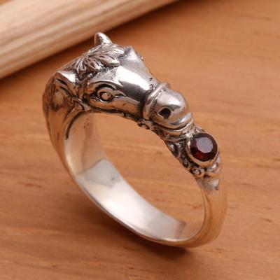 Men's garnet ring, 'Spirited Horse' - Men's Garnet And Sterling Silver Ring