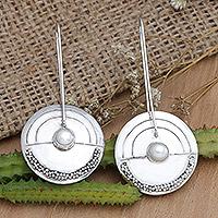 Pearl drop earrings, 'Moonlight Sand' - Modern Pearl Sterling Silver Drop Earrings