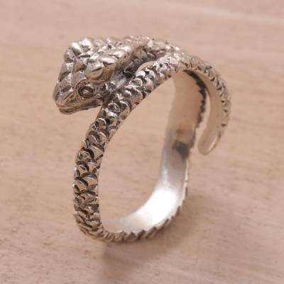 Sterling silver wrap ring, 'Silver King Cobra' - Unique Sterling Silver Snake Ring