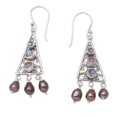 Pearl and rainbow moonstone dangle earrings, 'Mountain Top' - Sterling Silver Pearl and Rainbow MoonstoneEarrings