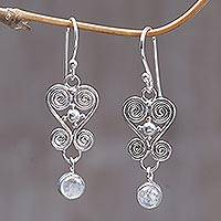Rainbow moonstone dangle earrings, 'Sweethearts'