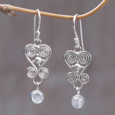 Rainbow moonstone dangle earrings, 'Sweethearts' - Heart Shaped Rainbow Moonstone Sterling Silver Earrings
