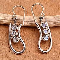 Rainbow moonstone drop earrings, 'Come Back' - Rainbow Moonstone Sterling Silver Dangle Earrings