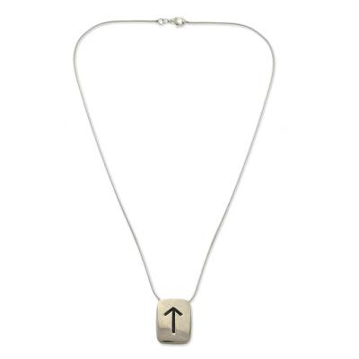 Sterling silver pendant necklace, 'Looking Up' - Sterling silver pendant necklace