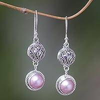 Pearl dangle earrings, 'Rose Glow' - Pearl Sterling Silver Dangle Earrings