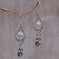 Amethyst and pearl flower earrings, 'Empress' - Amethyst and pearl flower earrings