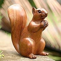 Wood sculpture, 'Squirrel with an Acorn'