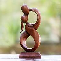 Wood sculpture, 'Kiss Me' - Wood sculpture