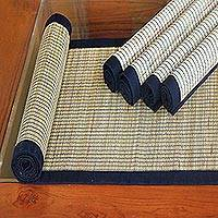 Mendong table runner and placemats, 'Gray Weaves' (set for 4) - Mendong Table Runner and Placemats (Set for 4)