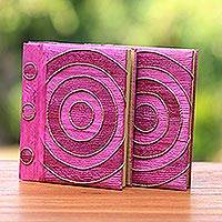 Natural fiber notebooks, 'Hypnotic Rose' (pair) - Pink Handmade Natural Fiber Notebooks (Pair)