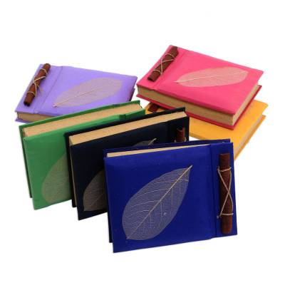 Natural fiber notebooks, 'Happy Leaf' (set of 6) - Natural Fiber Notebooks (Set of 6)