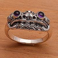 Men's amethyst ring, 'Immortal Eclipse' - Men's Artisan Crafted Sterling Silver and Amethyst Ring