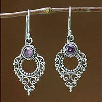 Amethyst dangle earrings, 'Joy' - Sterling Silver Amethyst Dangle Earrings