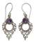Amethyst dangle earrings, 'Joy' - Sterling Silver Amethyst Dangle Earrings thumbail