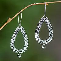 Sterling silver chandelier earrings, 'Lace Teardrop'
