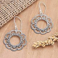 Sterling silver dangle earrings, 'Lacy Sunflower' - Floral Sterling Silver Dangle Earrings