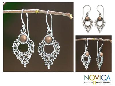 Sterling silver dangle earrings, 'Joy' - Gold Accent Sterling Silver Dangle Earrings