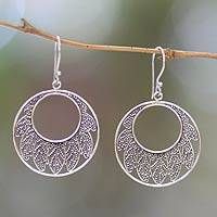 Sterling silver dangle earrings, 'Lotus Leaf' - Indonesian Sterling Silver Dangle Earrings
