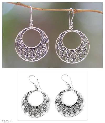 Sterling silver dangle earrings, 'Lotus Leaf' - Indonesian Sterling Silver Dangle Earrings