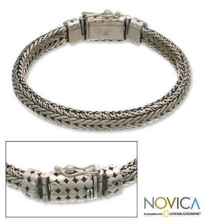 Men's sterling silver braided bracelet, 'Open Mind' - Men's sterling silver bracelet