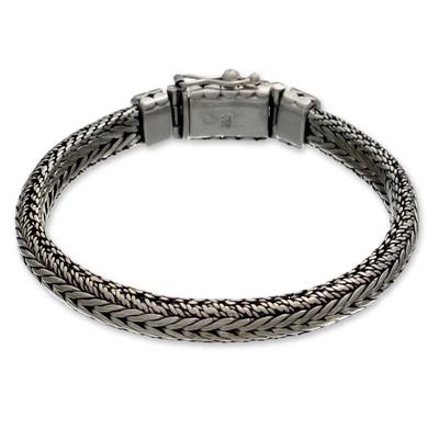 Men's sterling silver braided bracelet, 'Open Mind' - Men's Handcrafted Sterling Silver Braided Bracelet