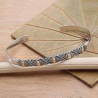 Sterling silver cuff bracelet, 'Hyacinth'