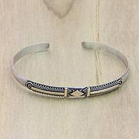 Gold plated bracelet, 'Truth' - Sterling Silver Bracer Plated in 18k Gold