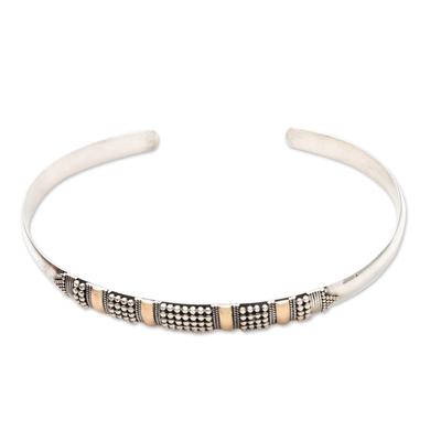 Gold plated cuff bracelet, 'Amaranth' - Women's Sterling Silver Cuff Bracelet
