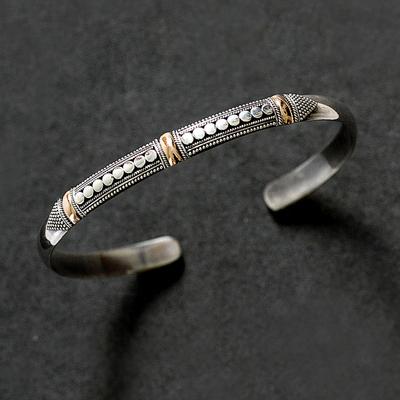 Sterling silver cuff bracelet, 'Fireflies' - Sterling Silver Gold Accent Cuff Bracelet