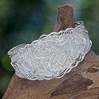 Sterling silver cuff bracelet, 'Filigree Wild Rose'