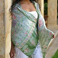 Silk batik shawl, 'Jade Mums' - Batik Silk Patterned Shawl
