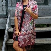 Silk batik shawl, 'Chrysanthemums' - Handmade Batik Silk Shawl