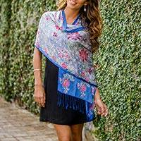 Featured review for Silk batik shawl, Sapphire Mums