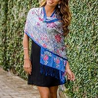 Silk batik shawl, 'Sapphire Mums' - Handcrafted Blue Floral Batik Silk Scarf