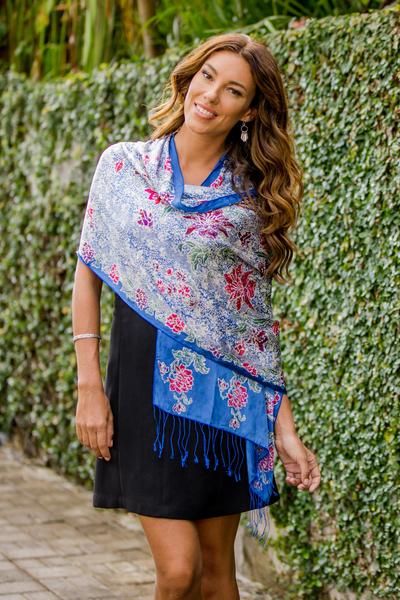 Silk batik shawl, 'Sapphire Mums' - Blue Batik Silk Shawl