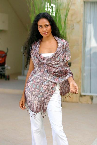 Silk batik shawl, 'Euphoria' - Handcrafted Floral Silk Wrap Shawl