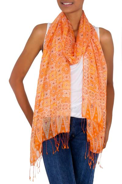 Silk batik shawl, 'Ginger Jasmine' - Hand Made Floral Silk Shawl