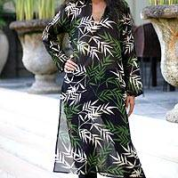 Cotton caftan, 'Black Bamboo Paradise' - Cotton caftan