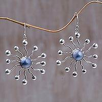 Pearl earrings, 'Blue Stars' - Pearl earrings