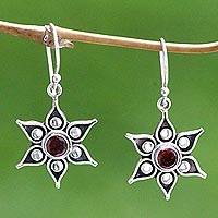 Garnet flower earrings, 'Poinsettias' - Floral Garnet Sterling Silver Dangle Earrings