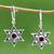 Garnet flower earrings, 'Poinsettias' - Floral Garnet Sterling Silver Dangle Earrings (image 2) thumbail