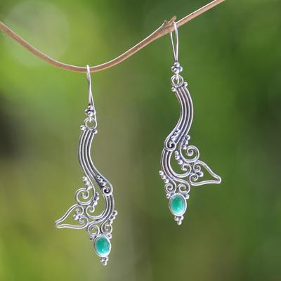Agate dangle earrings, 'Ivy Moon' - Agate dangle earrings